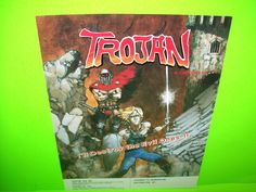 Capcom TROJAN Original 1986 NOS Video Arcade Game Promo Sales Flyer Adv. RARE #CapcomTrojan