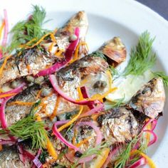 Grilled sardines, pickled red onions, dill and orange