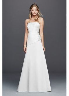 Strapless Ruched Wedding Dress with Lace OP1259