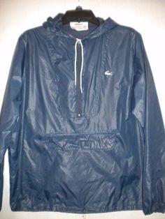 Vintage Izod Lacoste Mens Size Large Navy Windbreaker Pullover Rain Jacket #IzodLacoste #Windbreaker