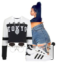 """™😏"" by xtiairax ❤ liked on Polyvore featuring Topshop, adidas Originals and Roberto Coin"