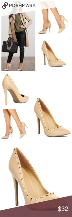 Ivette Classic Nude Stiletto Classic and edgy, adventurous lady. Ivetta is super sophisticated and chic with a pointed toe, stud trim detailing and a stiletto heel. It's a wow-factor heel! 4 inches New with box. Just Fab Shoes Heels