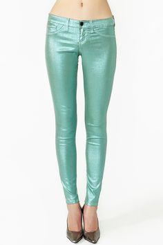 Metallic Skinny Jeans - Seafoam