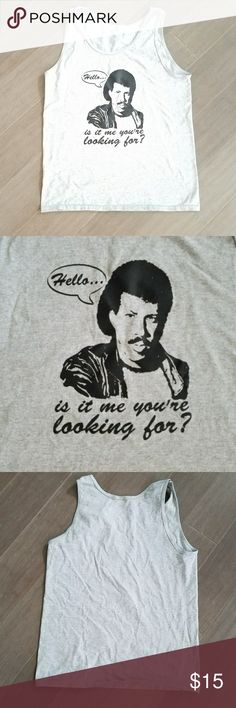 """Hello? Is it me you're looking for? Lionel Richie hello heather grey tank top. Measurements bust 20"""" length 26.5"""". EUC. Tops Tank Tops"""