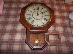 Check out my other items !Be sure to add me to your favorites list ! The item you are bidding on is A VERY UNIQUE WATERBURY (WATERBURY STAMPED ON MOVEMENT) SCHOOLHOUSE CLOCK IN EXCELLENT RUNNING COND