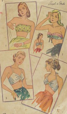 Vintage 1940s Pin-Up Bra Tops Pattern Bust 34-36 Bombshell Simplicity 2026