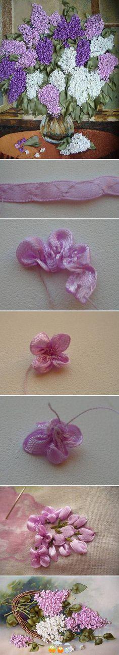 DIY Fabric Lilac Flowers bordado com fita Ribbon Art, Diy Ribbon, Ribbon Crafts, Flower Crafts, Diy Crafts, Ribbon Flower, Ribbon Embroidery Tutorial, Silk Ribbon Embroidery, Embroidery Stitches