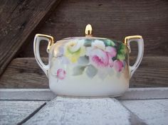 Pretty Little Hand Painted Sugar Bowl Nippon Pink by rosebudshome