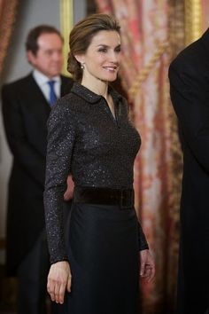 Queen Letizia of Spain attends the annual Foreign Ambassadors reception at the Royal Palace on 21.01.2015 in Madrid, Spain