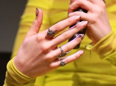 Best Nail Ideas of Modern metallic-tipped French manicures, like this one on Lily Collins. Best Nail Art Designs, Nail Polish Designs, Lily Collins, Pretty Hands, Beautiful Hands, Hand Pictures, Gold Hair Accessories, Pedicure Designs, The Beauty Department