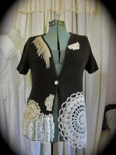 Romantic Brown Sweater, upcycled altered clothing, doily embellished, women cardigan, SMALL MEDIUM