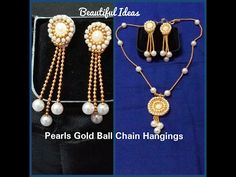 DIY/ How to Make Pearls Gold Ball Chain Hangings/ Earrings at Home.. - YouTube