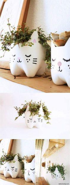 Reuse plastic bottles and make cute flower pots