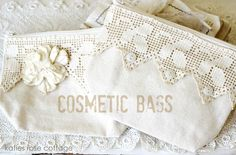 Vintage Lace Cosmetic Bags --but why limit them to cosmetics?! These are perfect for storing all kinds of things. Whiten the lace with Mama's Miracle Linen Soak first.
