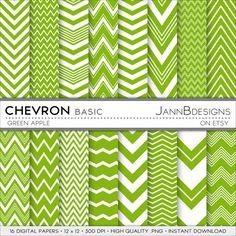Green Apple CHEVRON  BASIC Digital Paper Pack  by JAnnBdesigns