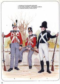 Britishs Alliés 1-Freikorps Czernischeff,1813 2-Skirmisher, Field von Bennigsen 1813-14 3-Corporal, Field Verden 1814-15