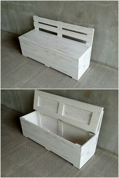 Unique and Pretty Wooden Pallet Projects Wood Pallet Bench with Storage The post Unique and Pretty Wooden Pallet Projects appeared first on Pallet Ideas. Cool Wood Projects, Diy Pallet Projects, Pallet Ideas, Wooden Pallet Crafts, Wooden Pallets, Reclaimed Wood Furniture, Diy Pallet Furniture, Pallet Sofa, Pallet Patio