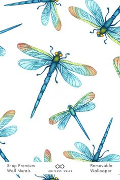 If you're looking to make a statement in your child's room, this bright, colorful watercolor dragonfly wall mural will not disappoint. Tap to shop now! | Limitless Walls - Premium Wall Murals Childrens Wall Murals, Nursery Wall Murals, Nursery Room, Wallpaper Designs, Designer Wallpaper, Dragonfly Wallpaper, Special Wallpaper, Removable Wall Murals, Vinyl Paper