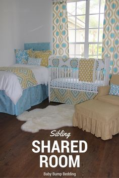 Sibling shared suite on pinterest sibling room custom baby bedding and shared rooms for Baby and toddler sharing bedroom ideas