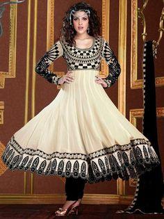 Cream Faux Georgette Resham Work Anarkali Salwar Suit 27134