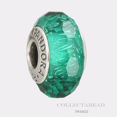 Authentic Pandora Sterling Silver Teal Shimmer Murano Glass Bead 791655 #Pandora