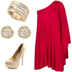 Love off the shoulder dresses with a pop of gold in the accessories.