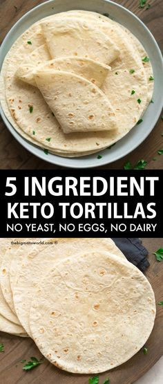 Keto Tortillas made with no yeast, no eggs, and no grains! Fluffy, durable, and perfect for sandwiches, wraps, and everything else- Vegan, low carb and gluten free! Sugar Free Desserts, Gluten Free Desserts, Healthy Desserts, Healthy Cooking, Healthy Eating, Baking Recipes, Keto Recipes, Low Carb Tortillas, Tortilla Recipe