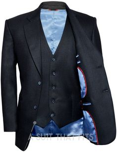 Jet Black Three Piece with a Ice blue lining and Extra Trousers.