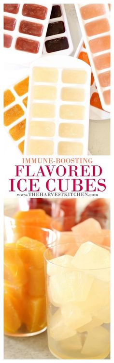 Flavor your water and boost your immune system with these Immune Boosting Flavored Ice Cubes. These fruit juice ice cubes are made with unsweetened bottled juice, freshly squeezed fruit and vegetable juices, which adds vitamins, minerals, antioxidants and anti-inflammatory goodness to your plain water. It's so refreshing, it will quickly become your new favorite drink.