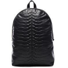 Alexander McQueen Rib Cage Backpack (£1,562) ❤ liked on Polyvore featuring bags, backpacks, handbags, leather backpack bag, genuine leather backpack, leather rucksack, leather daypack and real leather bags