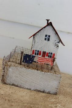 Folk Art Primitive Mixed Media 3 D Little Wooden House With Tin Roof Laundry Red…