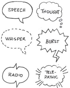 Speech bubbles: thought, whisper, outburst, radio, telepathic. Art Reference Poses, Drawing Reference, Comic Book Layout, Visual Note Taking, Visual Thinking, Comic Tutorial, Note Doodles, Sketch Notes, Comic Drawing