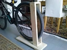Wooden bike rack by Mertix – Hanger rack Diy Bike Rack, Bicycle Storage, Bicycle Rack, Bike Stand Diy, Rack Velo, Bicycle Decor, Wooden Bicycle, Bike Mount, Cool Bike Accessories