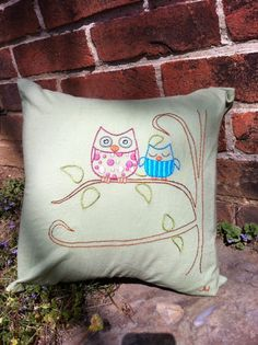 Baby Owl Pillow #embroidery #pillow #owl