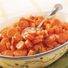 """Glazed Orange Carrots Recipe -Want your kids to eat more carrots? This tender side dish has a pleasant citrus flavor and a pretty orange glaze. It's a """"must"""" at our family gatherings. Cooked Carrots, Glazed Carrots, Roasted Carrots, Fruit Dishes, Fruit Snacks, Vegetable Side Dishes, Vegetable Recipes, Veggie Side, Carrot Recipes"""
