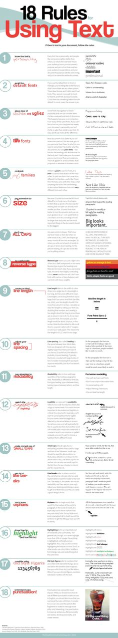 18 Rules for Using Text | 18 reglas para usar texto #infografia #infographic…