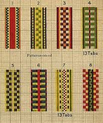 Pattern Library for tablet weaving Pin Weaving, Card Weaving, Loom Weaving, Inkle Weaving Patterns, Loom Patterns, Types Of Weaving, Inkle Loom, Passementerie, Weaving Projects