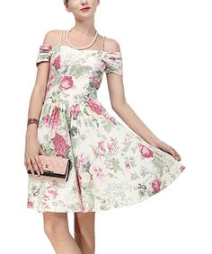 Look at this White Floral Off-Shoulder Dress on #zulily today!