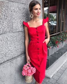 16 Beautiful Outfits With Summer Dresses Cute Red Dresses, Casual Dresses, Dresses For Work, Summer Dresses, Red Dress Casual, Red Fashion, Look Fashion, Womens Fashion, Dress Skirt