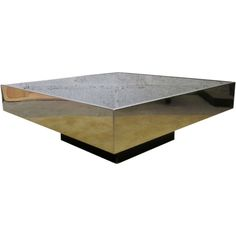 Chromed square coffee table with mirror top | From a unique collection of antique and modern coffee and cocktail tables at https://www.1stdibs.com/furniture/tables/coffee-tables-cocktail-tables/