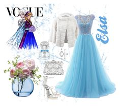"""Disney Princess: Grand Soirée - Elsa"" by mariloli1303 ❤ liked on Polyvore featuring Dolce&Gabbana, Yves Salomon, Disney, Vince Camuto, Givenchy, Giuseppe Zanotti, Anne Klein and LSA International"