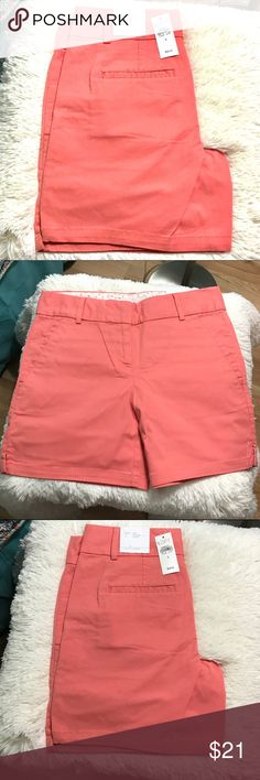 "LOFT Rivera Shorts 6"" 6"" twill shorts Fab summer cantaloupe melon colorZip fly with bar & hook closure Front slash pockets Back welt pockets Detailed with side slits *97% Cotton *3% Spandex* LOFT Shorts"