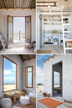 A small beach house in Uruguay. Whitewashed and shutters. Cannot resist... #cottage #space #design Small Space Living, Tiny House Living, House 2, Living Room, Beach House Style, Beach Shack, Beach Huts, Mini Loft, Casa Ideal