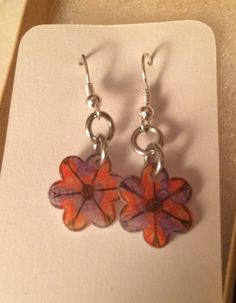 Red and Purple Swirly Flower Earrings by inthespicerack on Etsy
