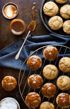 Caramel Apple Pumpkin Spiced Muffins with Salted Caramel Glaze