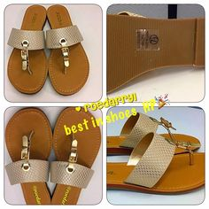 🆑 Summer Slip On Sandal Easy Breezy slip on and off thong flat buckle sandal.  In a golden tone with snake like material.  Soda Shoes Sandals