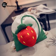 RoyaDong Drawstring Backpack Kids Bag Canvas 3D Cute Strawberry Carrot Candy Color 2016 Mochila Sack Sac A Dos Enfant Peluche