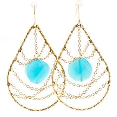 Aqua Tear Drop Earrings Pondicherry India Reimagined, Modern Indian Inspired Boutique