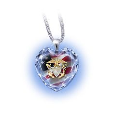 U.S. Navy Crystal Heart-Shaped Pendant Necklace ($89) ❤ liked on Polyvore featuring jewelry, necklaces, heart cross necklace, chain necklace, heart chain necklace, crystal necklace and crystal heart pendant