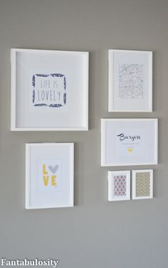 This wall gallery is just one half of what she has in her living area! A great way to fill wall space! http://fantabulosity.com